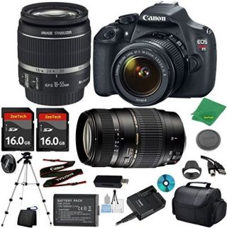 Canon EOS Rebel T5 Camera with 18-55mm IS Lens + Tamron 70-300mm AF + 2pcs 16GB